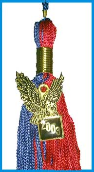 BSU Souvenir Royal & Red Eagle Mascot Charm Tassel