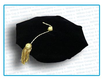 Silk Velvet Tam with Gold Metallic Doctor Tassel